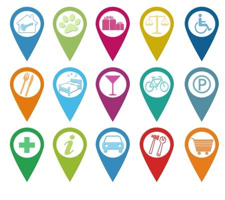 marcador: Set de iconos para los marcadores en los mapas