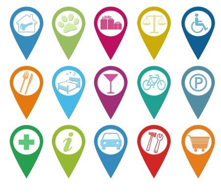 accommodations: Set of icons for markers on maps