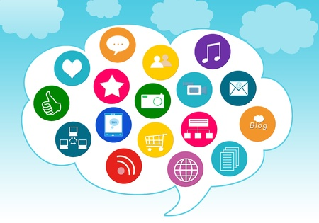 Colorful image for the web of social media icons in the cloud photo