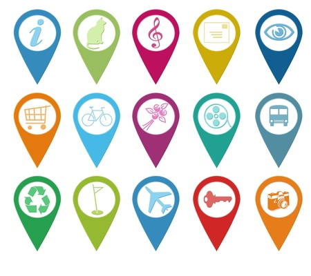 sleeping car: Set of icons for markers on maps