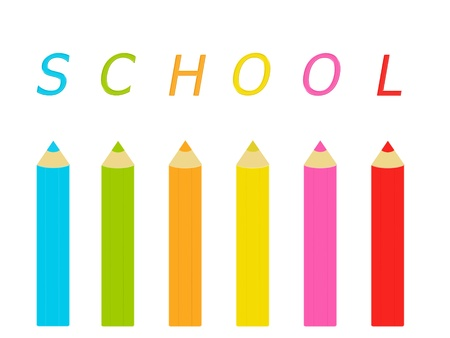 Colored pencils with the word School Stock Photo - 16600803