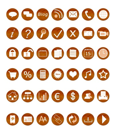 Set of icons for the web in wood texture