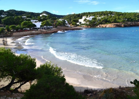 seaview: Portinatx turquoise beach in Ibiza, Spain Stock Photo