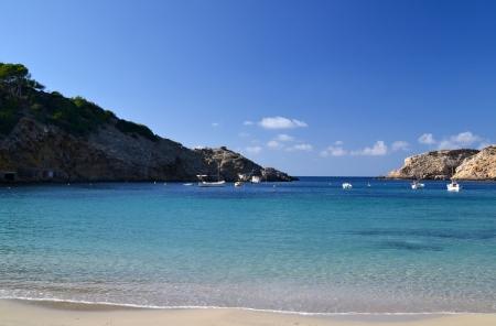 Landscape in Cala Vadella beach in Ibiza, Spain