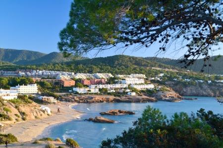Landscape in Cala Tarida beach in Ibiza, Spain