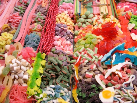 Candy stand at Boqueria Market in Barcelona, Spain