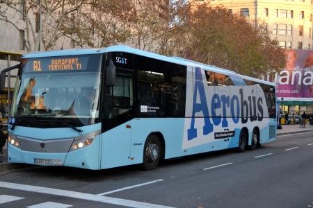 Barcelona, Spain - 29 December, 2012: Aerobus airport transfer in central Barcelona Editorial