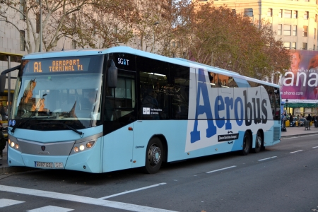 Barcelona, Spain - 29 December, 2012: Aerobus airport transfer in central Barcelona Editorial