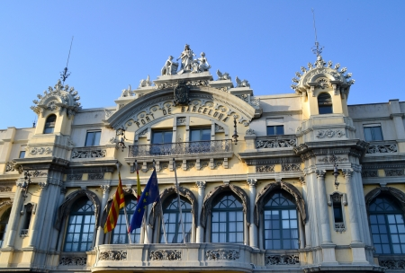 barcelona spain: Barcelona, Spain - July 16th, 2012: Building at the Port of Barcelona, Spain