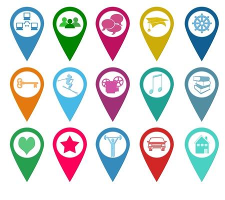 iconos de música: Set de iconos para los marcadores en los mapas con algunos s�mbolos y colores Foto de archivo