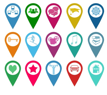Set of icons for markers on maps with some symbols and colors Imagens