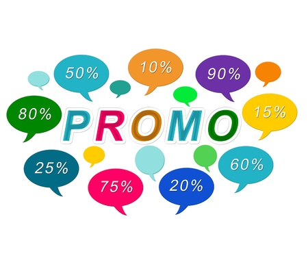 Sales image of colorful tags in blue, green, yellow, orange, red and pink colors with the word Promo Stock Photo - 17844846