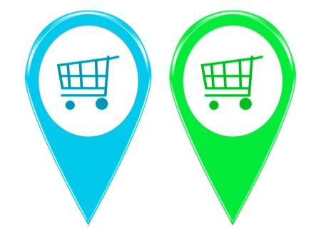 青と緑の色の地図マーカーの 2 つのショッピング アイコン セット