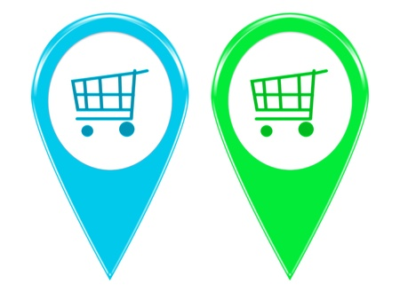 Set of two shopping icons for markers on maps in blue and green colors Imagens