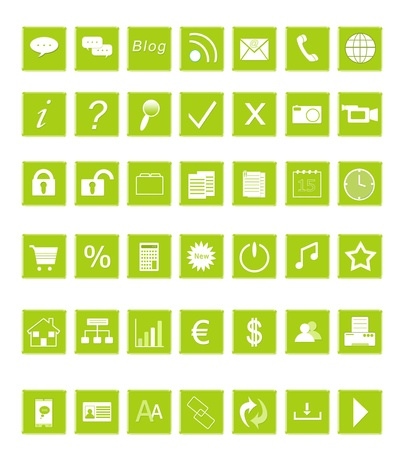Set of icons for the Web in green colors photo