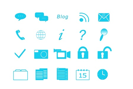 Set of icons for the Web in blue color Stock Photo - 18007469