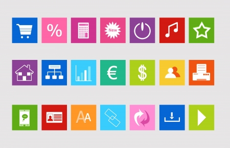 favorite colour: Set of icons for the Web in colors blue, green, red, pink, orange and yellow
