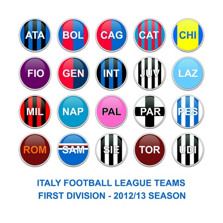 inter: Set of buttons for italian first division football league teams Editorial
