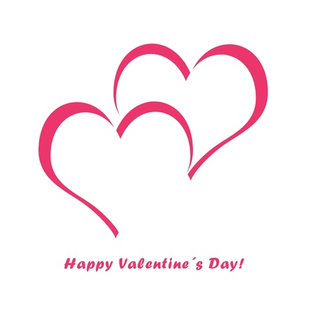 Postcard with hearts in pink color for Happy Valentines Day Stock Photo