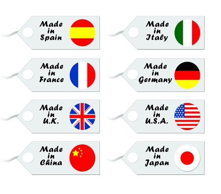 manufactured: Tags purchase with flags of different countries