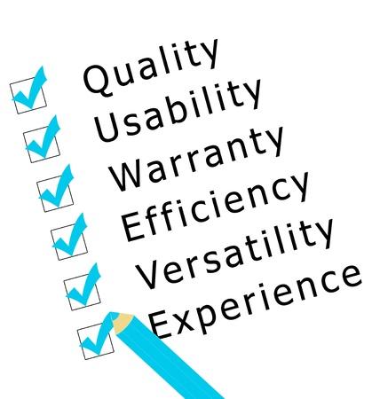 品質、経験、効率性、セキュリティ、調査します。