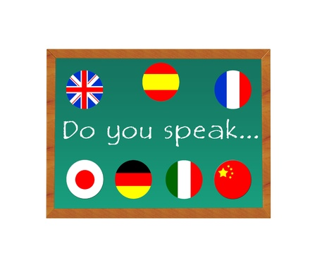 Chalkboard with text Do you speak, language learning photo