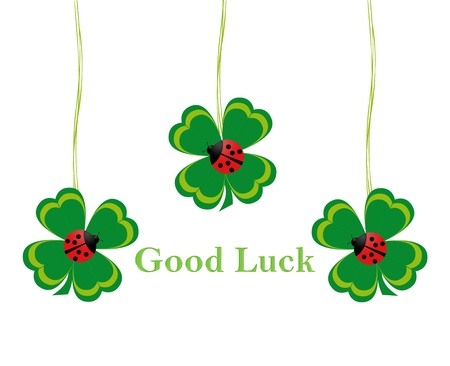 Four leaf clovers with ladybirds to wish Good Luck Stock Photo - 18615228