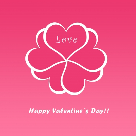 gifting: Valentine postcard with hearts in pink color Stock Photo