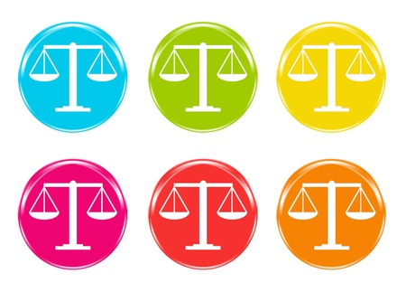 Justice scale icons in diferents colors photo
