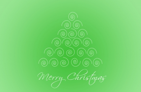 Christmas Card with a christmas tree in green color photo