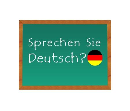 黒板のテキストはドイツ語を話すドイツ語 写真素材