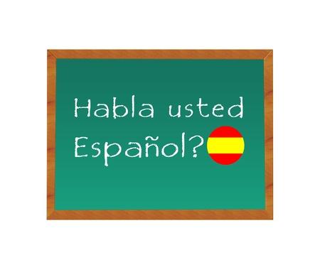黒板テキストとスペインでスペイン語を話す 写真素材