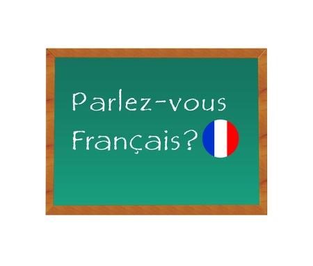 黒板のテキストはフランス語を話すフランス語 写真素材
