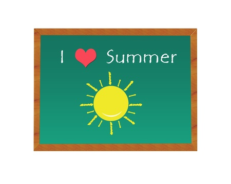 i like my school: Blackboard with picture indicates I like the Summer
