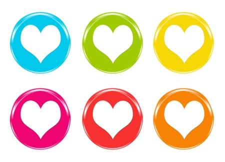 Set of icons with hearts in colors blue, green, yellow, pink, red and orange photo
