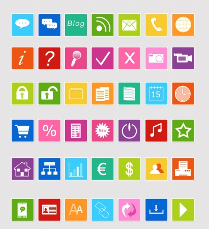 contacts group: Icons Set for Web in colors blue, green, yellow, orange, red and pink Stock Photo