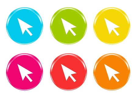 Icon with an arrow in blue, green, yellow, pink, red and orange colors photo