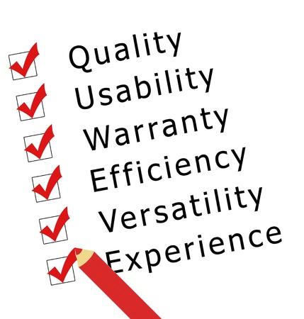 品質、使いやすさ、保証、効率性、汎用性と経験の調査します。
