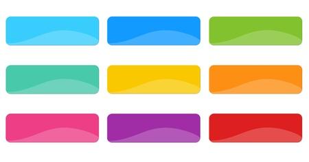 Botones de colores para menús de páginas web en azul, los colores verde, amarillo, naranja, rosa y rojo Foto de archivo - 19612003
