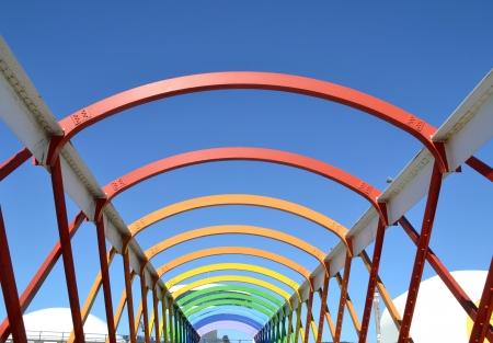 アビレス、アストゥリアス、スペインでカラフルな橋