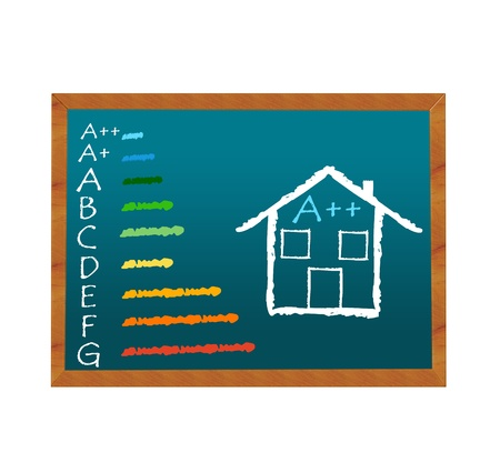 Blackboard symbolizing energy efficiency in buildings and a house symbol Imagens