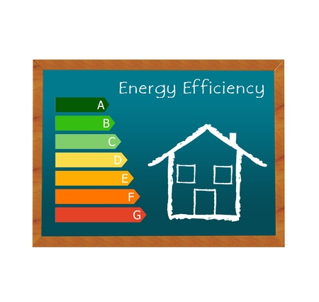 category: Blackboard symbolizing energy efficiency in buildings and a house symbol