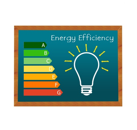 eficiencia energetica: Pizarra simboliza la eficiencia energética en edificios y símbolo de la bombilla