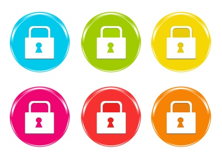locks: Colorful icons with a lock symbol in blue, green, yellow, pink, red and orange colors Stock Photo