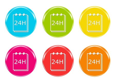 24 hours: Colorful icons to symbolize delivery in 24 hours Stock Photo