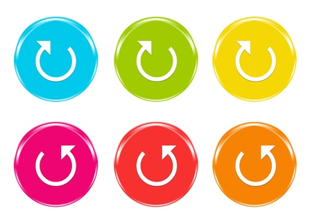 Colorful icons with arrow symbol in blue, green, yellow, pink, red and orange colors photo
