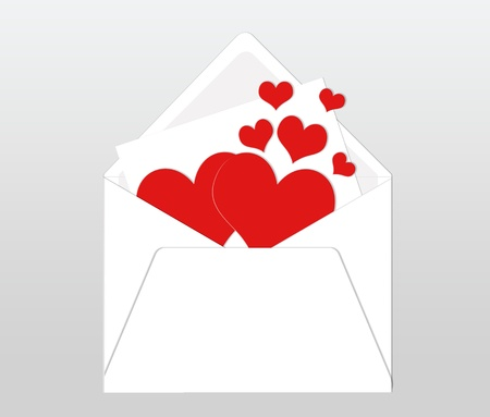 dedicate: Postcard with envelope and card with red hearts Stock Photo