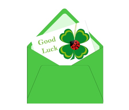 Card with four leaf clover for good luck photo