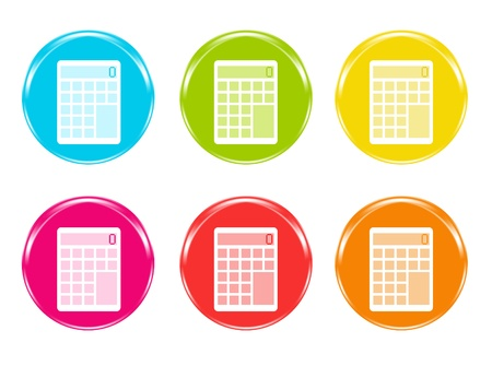 Colorful icons with a calculator symbol in blue, green, yellow, pink, red and orange colors photo