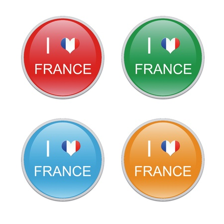 toulouse: Icons to symbolize I Love France in red, green, blue and orange colors Stock Photo